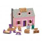 Nešiojamas lėlių namelis su baldais